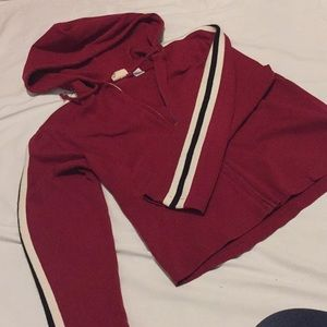 Tops - Athletic stripe zip front hoodie